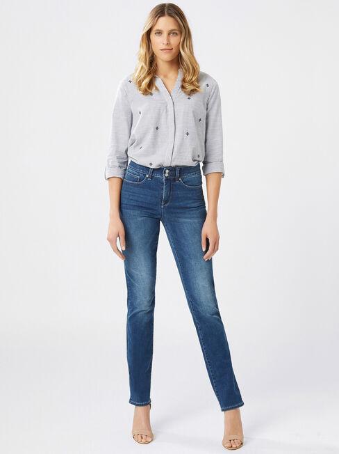Tummy Trimmer Slim Straight Jeans Mid Sapphire, Mid Indigo, hi-res