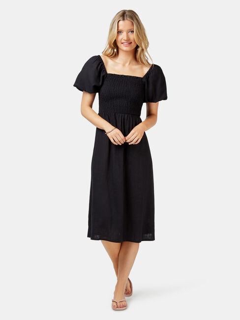 Reese Shirred Bust Dress, Black, hi-res