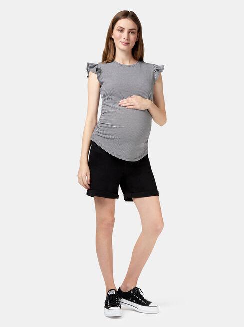 Isla Maternity Short, Black, hi-res