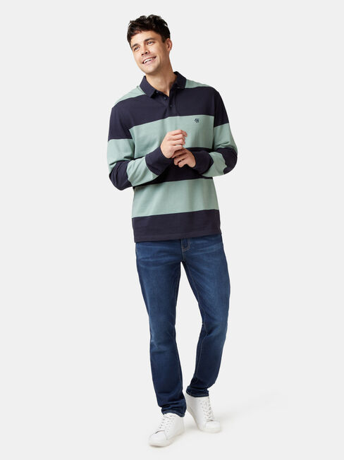 Cullen Long Sleeve Rugby Polo, Blue, hi-res