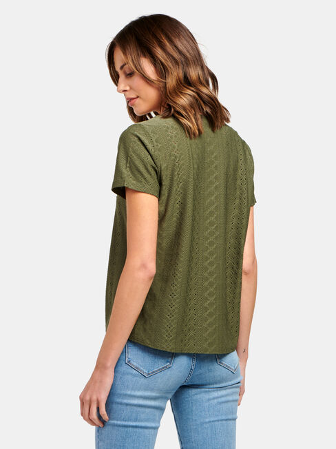 Lacey Lace Tee, Green, hi-res