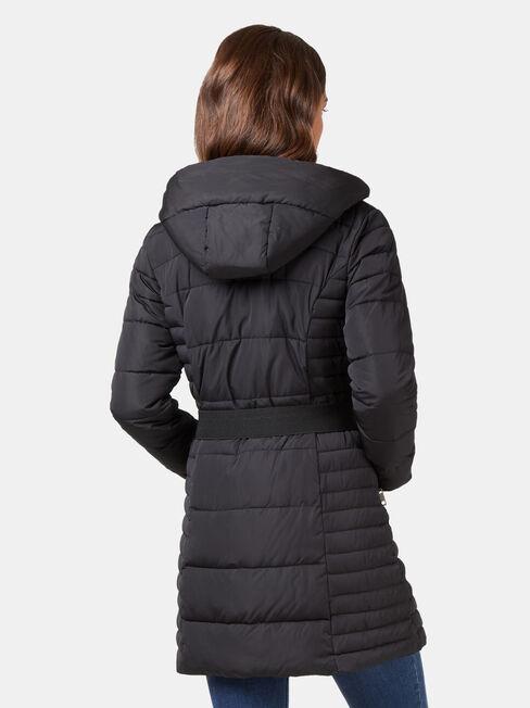 Rory Longline Padded Puffer Jacket, Black, hi-res