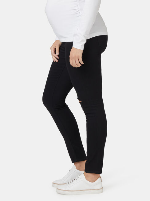 Isabelle Maternity Distressed Skinny 7/8th Jean, Black, hi-res