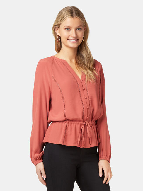 Kora Button Through Blouse, Pink, hi-res