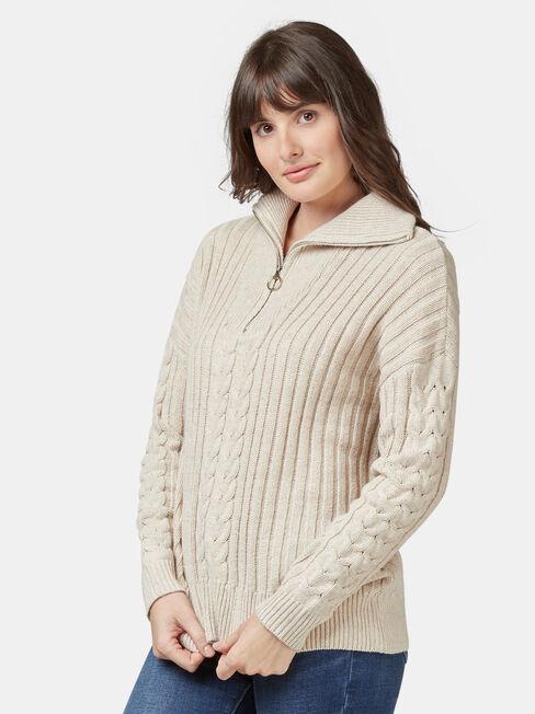 Ziggy Zip Front Pullover, Multi, hi-res