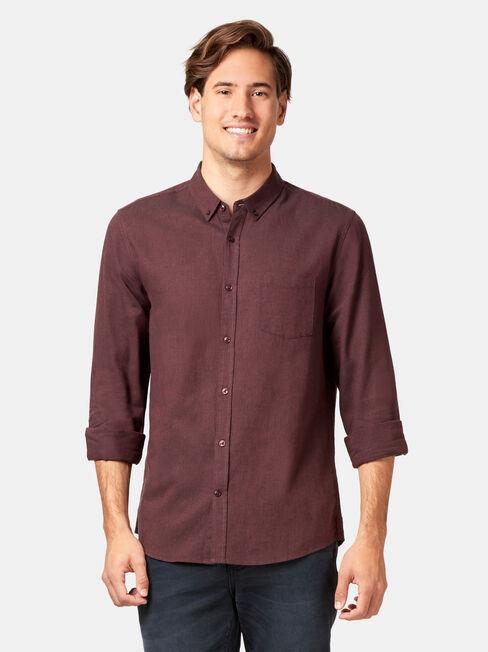 LS Brando Textured Shirt, Red, hi-res