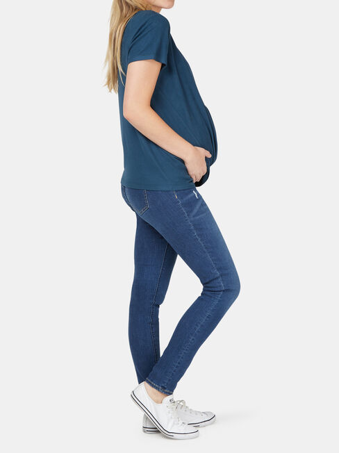 Janine Maternity Twist Tee, Blue, hi-res