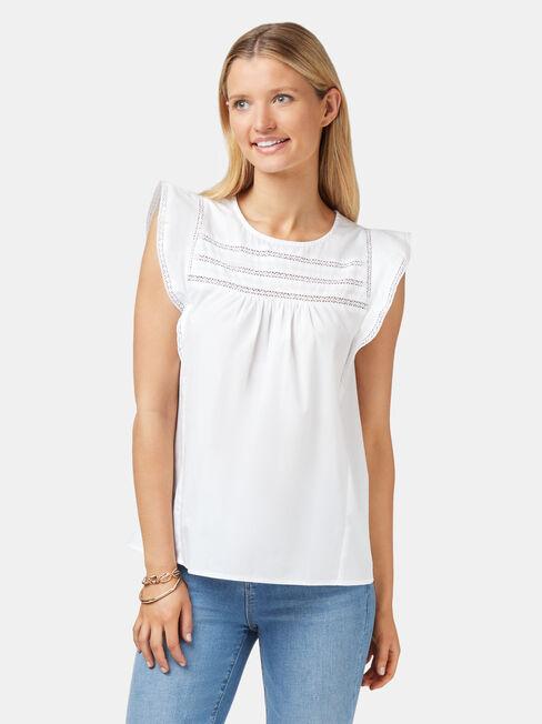 Teagan Ruffle Sleeve Top, White, hi-res