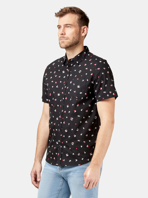 Kurt Short Sleeve Print Shirt, Black, hi-res