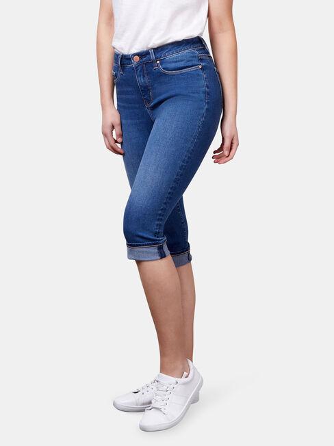 Mid Waisted Pedal Pusher Jeans Bright Indigo, Mid Indigo, hi-res