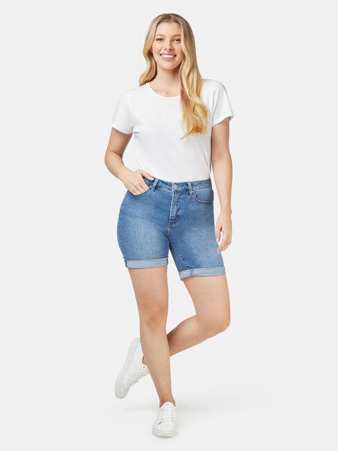 Sophia Curve Embracer Bermuda Short, White, hi-res