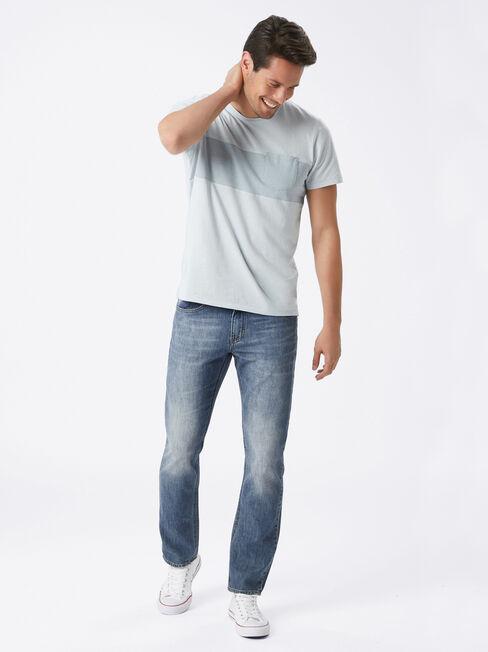 Slim Straight Jeans Old Time Blues, Mid Indigo, hi-res