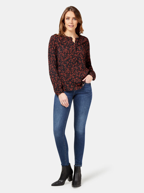 Kiara Volume Sleeve Blouse, Black, hi-res