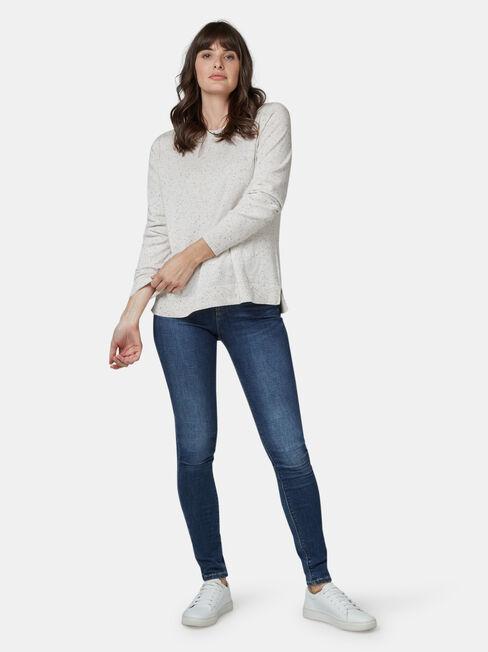Aspen Curve Hem Essential Knit, White, hi-res