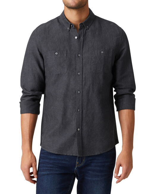 Bronson Long Sleeve Textured Shirt, Black, hi-res