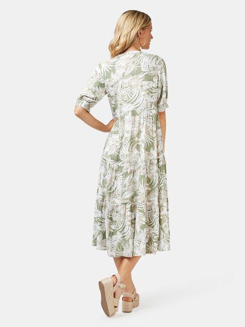 Esther Tiered Midi Dress, White, hi-res