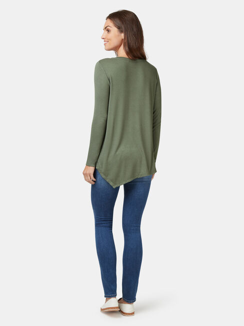 Amy Asymmetrical Hem Soft Touch Pullover, Green, hi-res