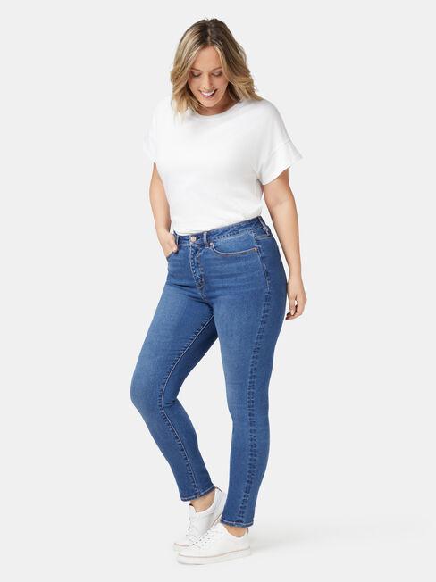 Ellie Curve Embracer High Waisted Skinny 7/8 Jeans Bright Indigo