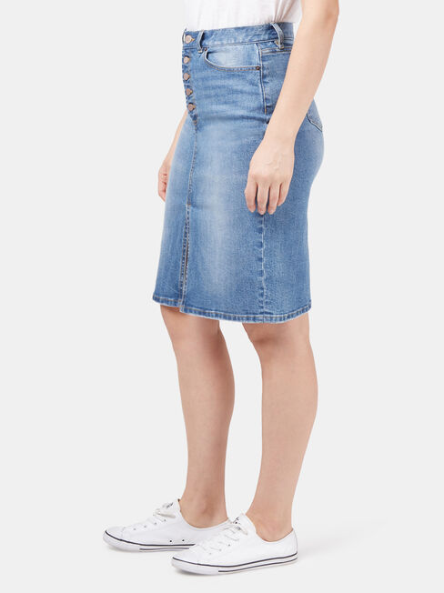 Donna Button Fly skirt, Blue, hi-res