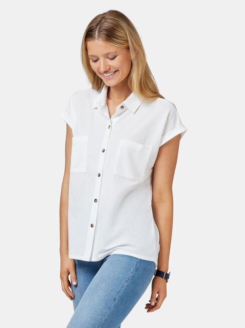 Finley Button Thru Shirt, White, hi-res