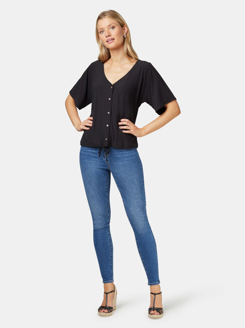 Marie Floral Jersey Top, Black, hi-res