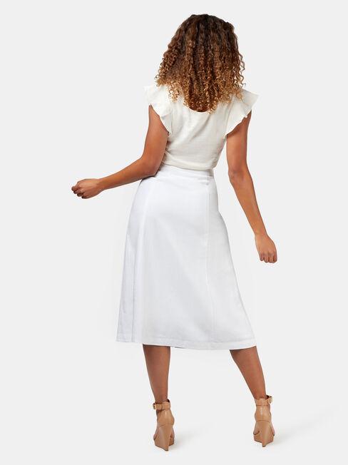 Anita Button Through Skirt, White, hi-res