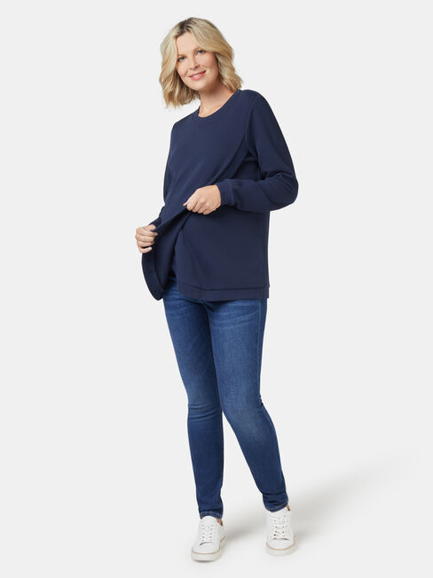 Violet Cross Over Maternity Sweat, Blue, hi-res