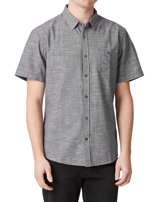 Pablo Short Sleeve Textured Shirt, Grey, hi-res