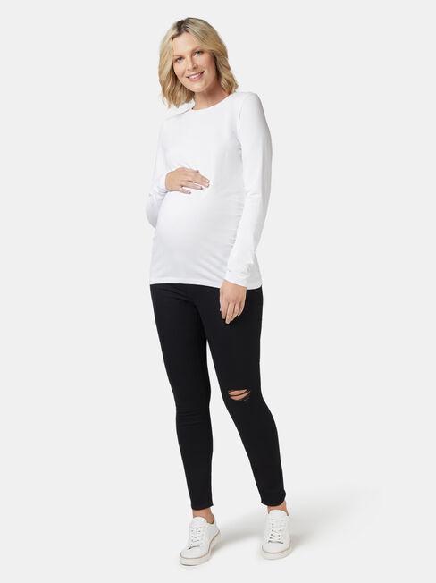 Natalie Basic Long Slv Top, White, hi-res