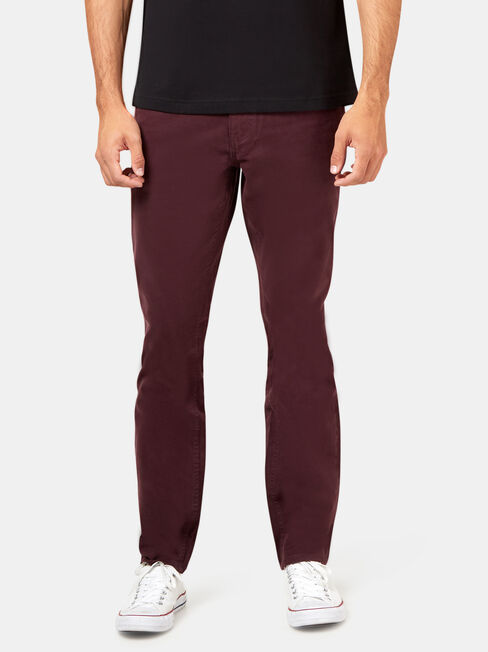 Slim Tapered Jeans Burgundy