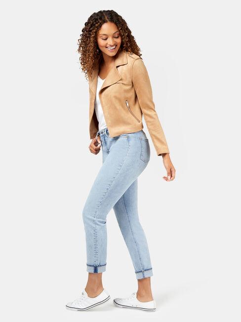 Luella Mocksuede Jacket, Brown, hi-res