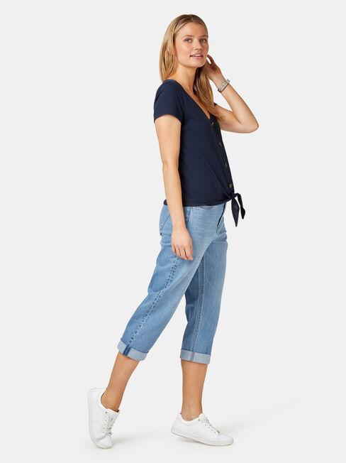 Vivienne Tie Front Top, Blue, hi-res
