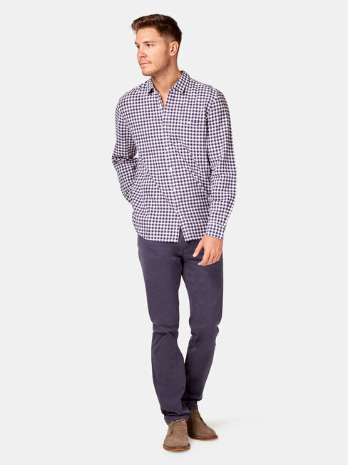 Barrett Long Sleeve Check Shirt, White, hi-res