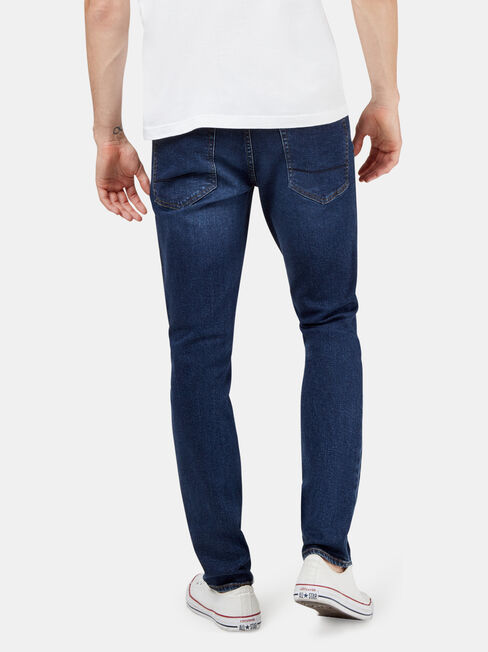 Eco Denim Flex 360 Slim Tapered Jeans, Mid Indigo, hi-res
