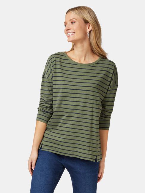 3/4 Sleeve Drop Shoulder Tee, Stripe, hi-res