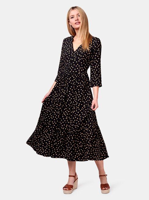 Holly Spot Midi Dress, Black, hi-res