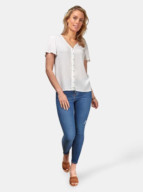 Tasha Button Down Shirt, White, hi-res