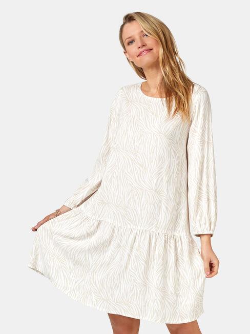 Emilia Tiered Dress, Stripe, hi-res