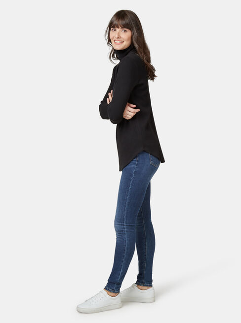 Ally Textured Stand Neck Top