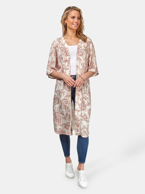 Monica Longline Kimono, Floral, hi-res