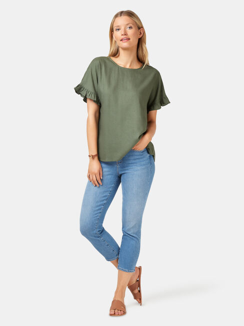 Fiona Ruffle Sleeve Top, Green, hi-res
