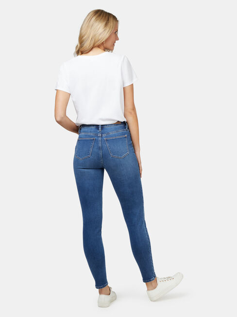 Feather Touch Mid Waisted Skinny 7/8 Jeans Mid Indigo, Mid Indigo, hi-res