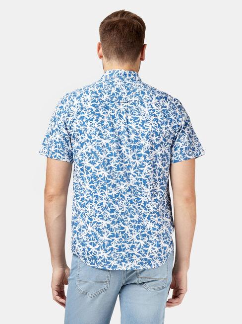 Earl Short Sleeve Print Shirt, Blue, hi-res