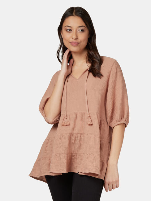 Cara Cheesecloth Tiered Top