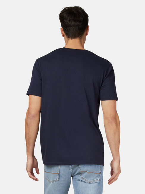 Monaro HK Short Sleeve Print Crew Tee, Blue, hi-res