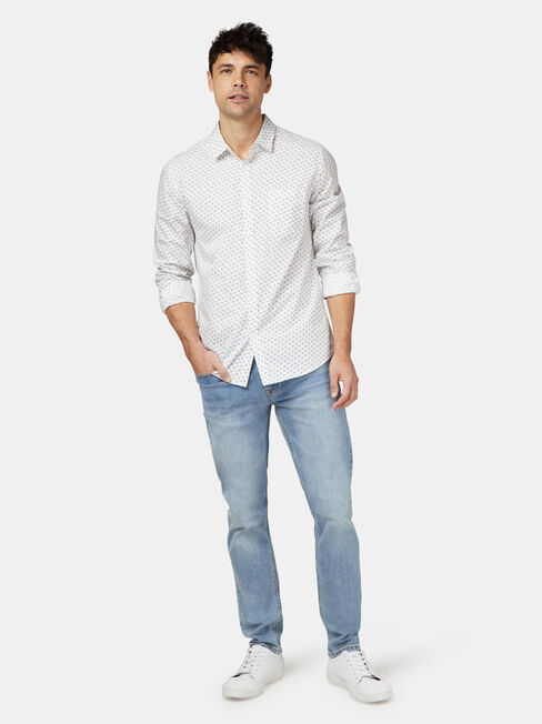 Windsor Long Sleeve Print Shirt, White, hi-res