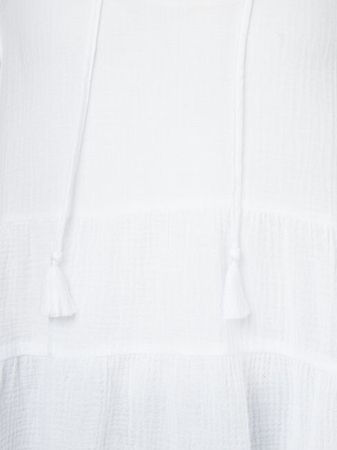 Cara Cheesecloth Tiered Top, White, hi-res