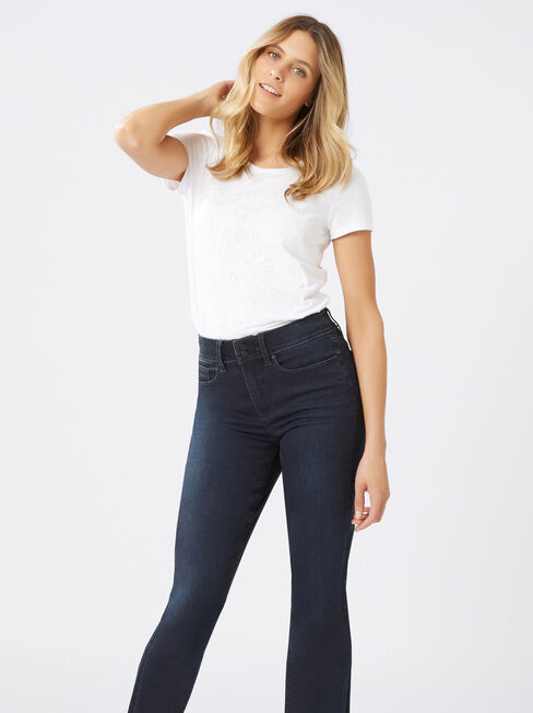 Tummy Trimmer Slim Bootcut jeans Brushed Indigo, Mid Indigo, hi-res