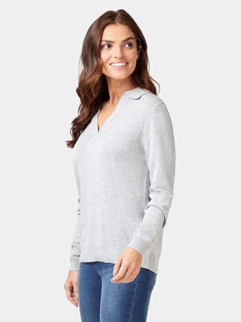 Iris Collared Knit, Grey, hi-res