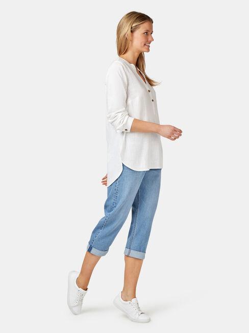 Everly Linen Shirt, White, hi-res